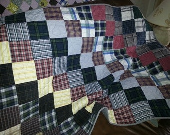 Throw or Lap Quilt Made of Men's Shirts - Custom Order Yours Today