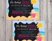 Digital Sandy Baby Girl Beach Chalkboard Stylle Shower Invitation DIY Printable