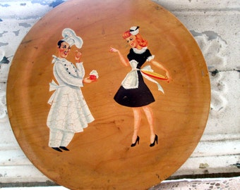 Vintage 50's Wood Tray Sexy Pin Up girl Waitress with chef Man