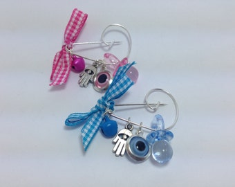 Lucky Evil Eye Safety Pin -Baby protection - New mommy - Baby shower - baptism - birth announcement - stroller - baby gift