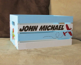 Personalized Wooden Crate with Airplanes