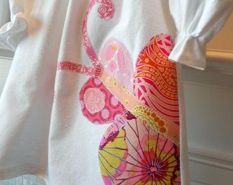 """Nightgown Or Dress Custom Order White Pink Appliqued Butterfly """"Butterfly Dreams"""" Sizes 2T to 10 Yrs Girls Made To Order Flannel Or Cotton"""