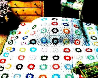 INSTANT DOWNLOAD PDF Vintage Crochet Pattern  for 1970s Granny Square Afghan Throw Blanket  Retro