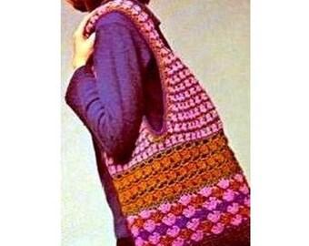 INSTANT DOWNLOAD PDF Vintage 1970s Crochet Pattern  Sling Shoulder Bag  Handbag Tote Retro