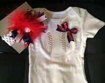 Baseball onsie and bow