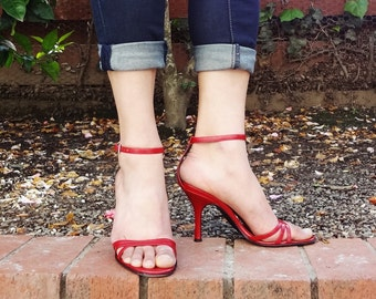 Via Spiga Red leather strappy heels - Made in italy - ( Sz 6.5, Eu 37 )