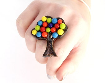 Large Cocktail Ring Glass and Ceramic  - big bold oversized handmade statement ring - TREE of HAPPINESS - 2 inch
