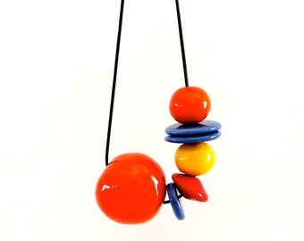Beaded Necklace Ceramic - big bold oversize handmade neon necklace -  TUTTI FRUTTI