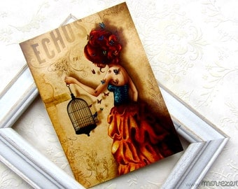 La belle aux papillons - Postcard