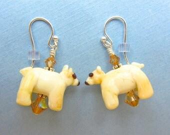 Polar Bear Earrings - Handmade Lampwork Glass Bead Art SRA