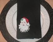 CLEARANCE Christmas Santa Napkins embroidered set of 2