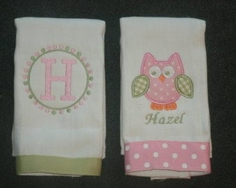 Personalized Owl Burp Cloth Set of 2 Burpies MONOGRAM