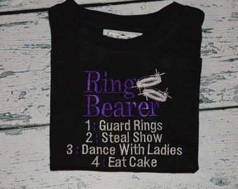 Ring Bearer Custom Embroidered Shirt Wedding Tee