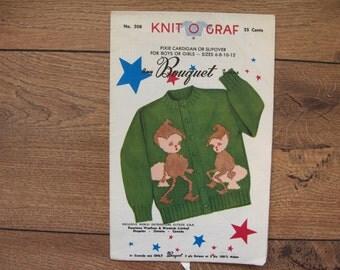 Vintage 1954 knit o graf  knitting pattern 208 PIXIE sz 6-8-10-12 cardigan or slipover  girl