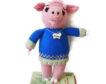 Knitted Pig- Custom Paddy is an Original Hand Knitted  Stuffed Animal/Custom Made
