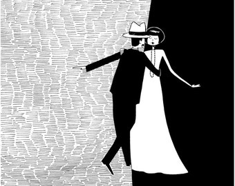 Night and day you are the one // Dancing couple black and white art print