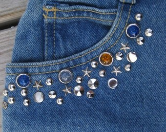 80s STUDS n STONES PUNK era jeans, 1980's studded, rhinestone blue American made high waisted denims