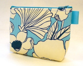 Poppy Fabric Bridesmaid Gift Cosmetic Bag Zipper Pouch Makeup Bag Gadget Pouch Navy Blue Turquoise Teal MTO