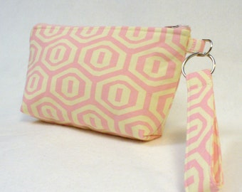 SALE! Amy Buter Fabric Wristlet Clutch Purse Zipper Pouch Cosmetic Bag Key Fob Honeycomb Hexagon Cream Pink Handmade
