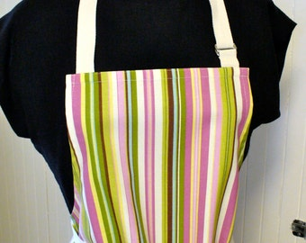 Striped Womens Apron Full Apron Chefs Apron Adjustable Apron Beach Umbrella Stripe Orchid Pink Lime Handmade MTO