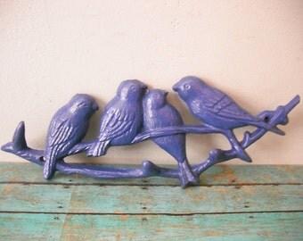 upcycled Iris Blue birds hooks Birds on a limb .. Cast Iron hooks ... keys .. kitchen bath entryway