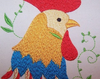 Machine Embroidery Design- Rooster Profile #07 with 3 sizes Included!