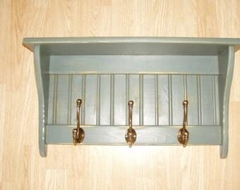 "Coat Rack Display Shelf Wood Wall Shelf Country Coat Rack 24"" Distressed Blue Antique English Brass Hooks"