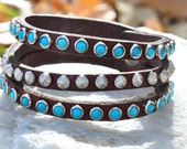 Turquoise & Silver Triple Strand Leather Bracelet
