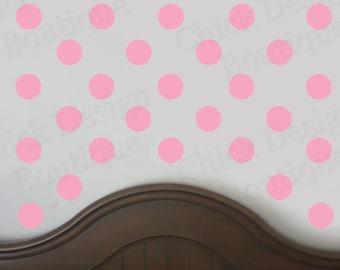 Soft Pink Vinyl Wall Circle Polka Dot Decals