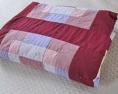 Vintage patchwork quilt Antique tile block, homemade quilt, tied quilt, burgundy bedcover, 80s decor