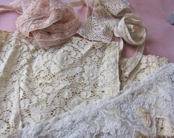 Lot vintage antique lingerie lace, vintage dressmaking, vintage trim, antique bra top, edwardianl lace yoke, Irish lace