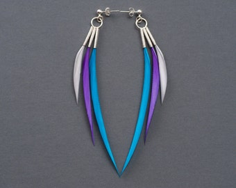 Bold Minimalist Triple Spike Feather Earrings in Long Style in Neon Purple, Turquoise + Grey on Silver Ear Posts