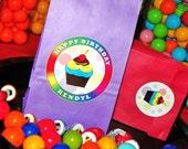 Cupcake Goody Bags W/Sticker Seals. Kids Cupcake Birthday Party Bags. Custom Cupcake Loot Bags. Cupcake Treat Bags. Set of 10. Pick Size