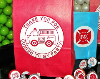 Vintage Fire Truck Party Favor Goody Bags w/Sticker Seals. Fire Engine Goodie Bags. Firetruck Loot Bags. Fire Truck Gift Bags. Set of 10