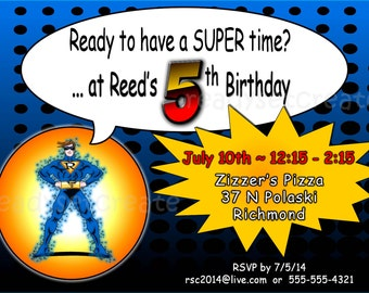 Superhero DIY Party Invitation. Superhero Figure Invite. Kid Custom Birthday Party Digitial Invitation. Superhero Theme Printable Invitation