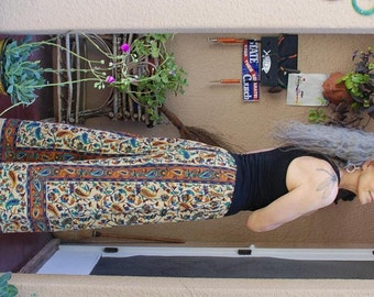 "Hippie Pants- Rust Paisley -Length 38"" Hips 48"""