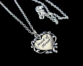 Bridal Jewelry Sterling Silver Heart Maid of Honor Necklace