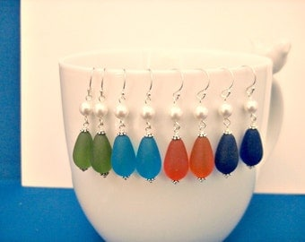 Bridesmaid Jewelry Beach Glass Earrings Color Tangerine, Green, Cobalt, Turquoise