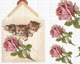 Instant Digital Download Tabby Cats Kittens Vintage Pink Roses Flowers Transparent PNG and Instructions to make Waterslide Decals too! ECS