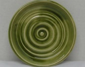 Porcelain Olive Green Soap Dish or Candle Holder