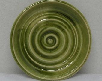 Porcelain Olive Green Soap Dish or Candle Holder