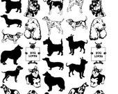 Dog Fusible Sepia Decals for Image Transfer Onto Glass 37 Dog Images