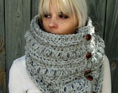 Womens Scarf Chunky Cowl Chunky Scarf Handmade Scarf 6 Leather Button Wool Cowl Knit Snood Cowl Unisex Cowl Gray Tweed or Choose Your Color