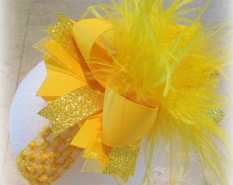 Yellow Over the Top Hair Bow, Baby Headbands, OTT Bows, Girls Hair Bows, Boutique Hair Bow, Large Hairbow, Big bows, Headbands for Girls