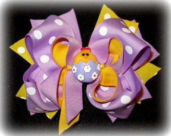 Easter Chick Egg Hair Bow Boutique Layered Hairbow Spring Lavender Purple Yellow