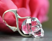 Crystal Skull - Lever back earrings - Sterling Silver, Day of the Dead, not your everyday earrings, skull earrings, skull jewellery, art4ear