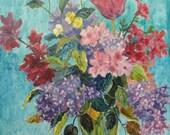 Vintage Oil Painting Still Life Flower Arrangement