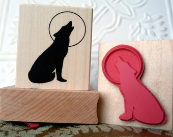 Howling Wolf Silhouette with Full moon rubber stamp from oldislandstamps