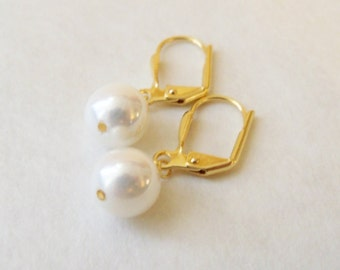 South sea 8mm round white pearl leverback earrings