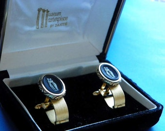 "HALF PRICE SALE Vintage  Dante  Museum Masterpiece ""The Kiss""  Incolay Cufflinks  Original Box JCL81"